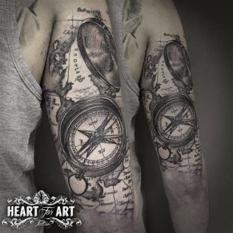 compass and map tattoo dotwork map compass ideas