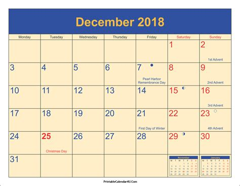2018 Calendar With Holidays And Observances December 2018 Calendar Printable With Holidays Pdf And Jpg