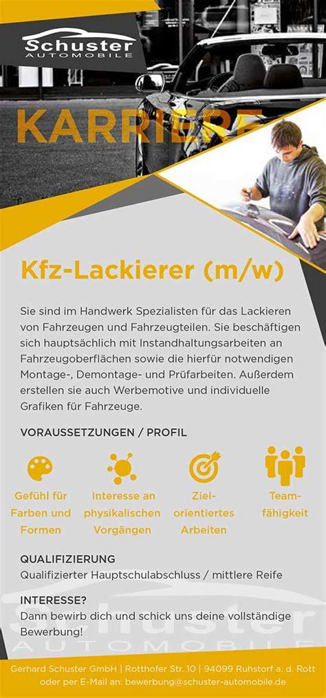Kfz Lackierer Ausbildung 2018 by Ausbildung Schuster Automobile