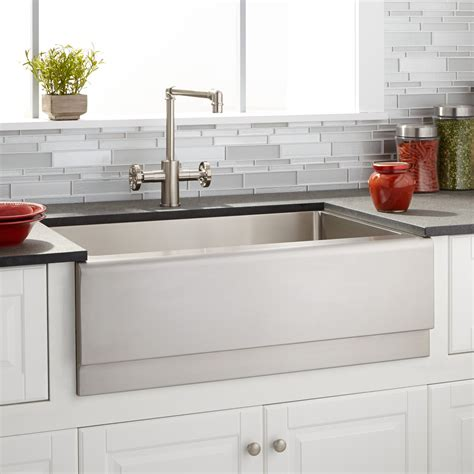 Stainless Steel Farmhouse Kitchen Sinks 27 Quot Optimum Stainless Steel Farmhouse Sink Beveled Apron Kitchen