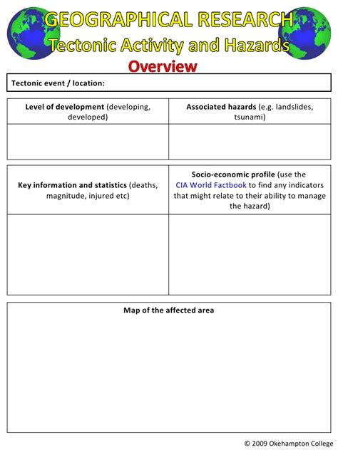 case study template for a2 edexcel unit 4 tectonics