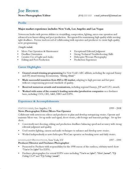 resume sles for photographers 17 best media communications resume sles images on