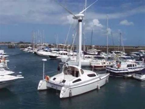 boat wind turbine unusual catamaran with wind turbine propulsion in guernsey