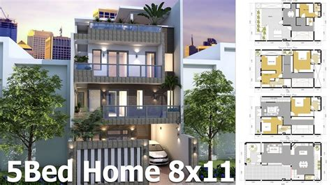 house design sketchup youtube sketchup house plan 8x11m 4 story plan with 5 bedroom