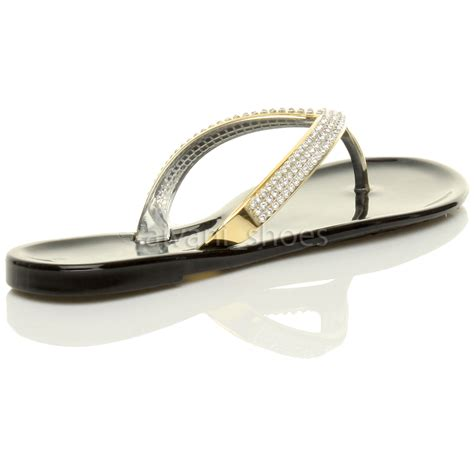 jelly flat sandals womens flat gold diamante jelly rubber summer flip