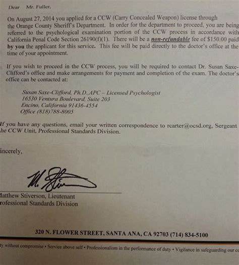 Character Reference Letter Ccw Oc Ca Sheriff Ordering Ccw Applicants To Undergo Psych Evaluations The About Guns