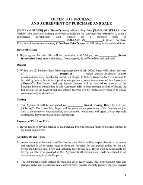 Ontario Purchase And Sale Agreement For Commercial Property Legal Forms And Business Templates Purchase And Sale Agreement Template