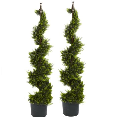 topiary tree art work two 4 outdoor cypress artificial