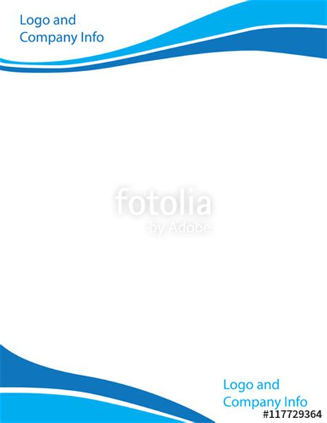 plantilla business letterhead with blue waves quot blue swirl wave letterhead template quot stock image and
