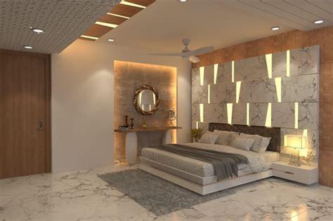 bedroom incorporating monotone patterns  walls lit