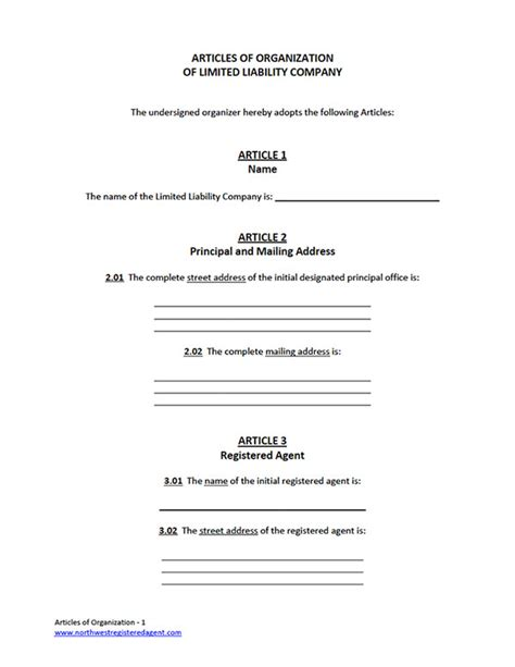 llc articles of organization template llc articles of organization free llc form for filing