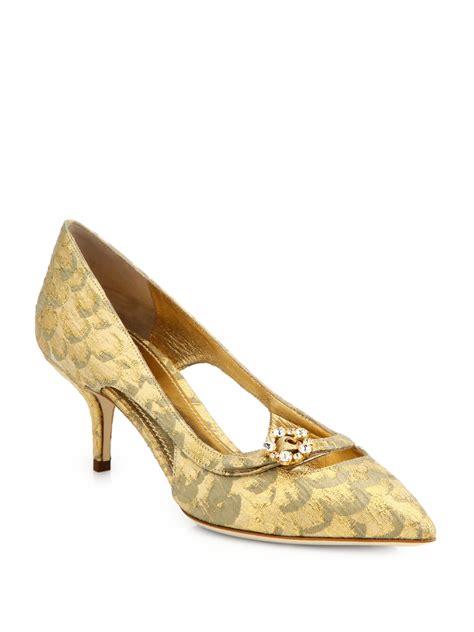 Connexion Mid Low Heels Gold dolce gabbana jeweled brocade midheel pumps in yellow lyst