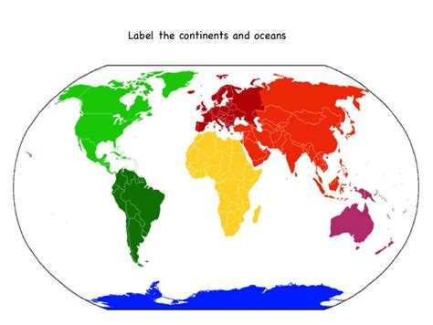 printable world map with continents and oceans printable map of the continents and oceans for kids