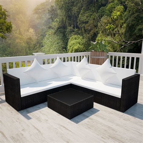rattan lounge sofa black poly rattan lounge set with two seat sofa vidaxl