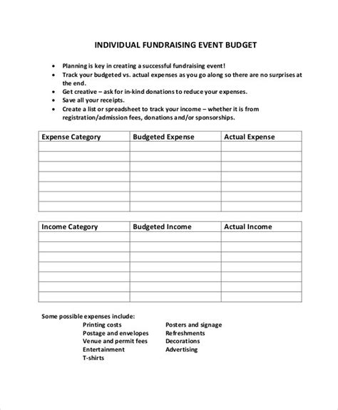 fundraising event planning checklist template 10 fundraising budget templates free sle exle