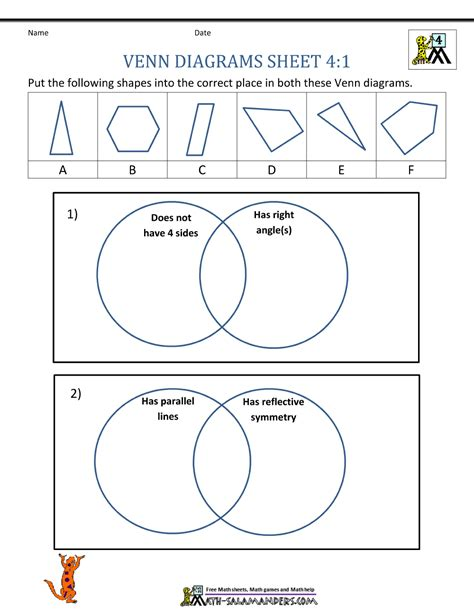 solving problems using venn diagrams worksheets venn diagram worksheet problems shapes carroll and venn
