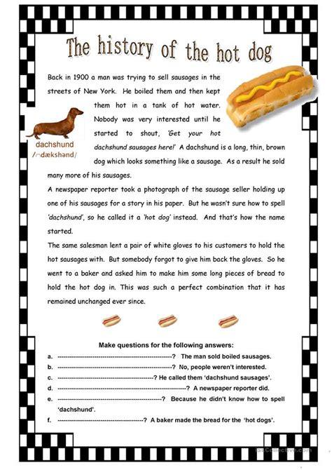 the history of the the history of the hot dog worksheet free esl printable worksheets made by teachers