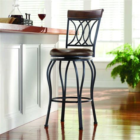home decorators collection 30 in red cushioned swivel bar home decorators collection classic 30 in dark brown