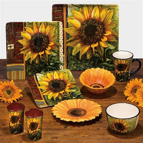 Tuscan Sunflower Kitchen Decor by Ceramic Fashion Rustic American Sunflower Decoration Plate
