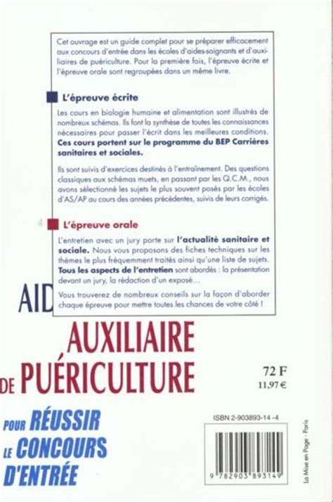 Lettre De Motivation Vendeuse Puériculture Livre Aide Soignant Auxiliaire De Puericulture Monnet