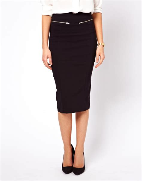 asos high waisted pencil skirt with zip detail in black lyst