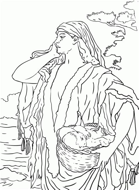 coloring pages baby moses basket moses picture coloring home