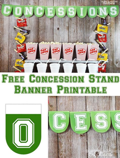 printable concessions banner football party concession stand recipe football