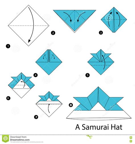 On How To Make A Paper Hat - step by step how to make origami a samurai