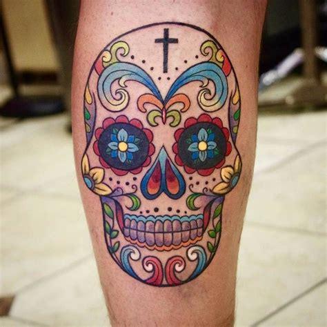 colorful skull tattoos 30 amazing and inspiring sugar skull tattoos designwrld