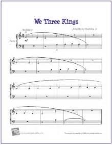 Printable Carols We Three Kings Free Beginner Piano Sheet Music