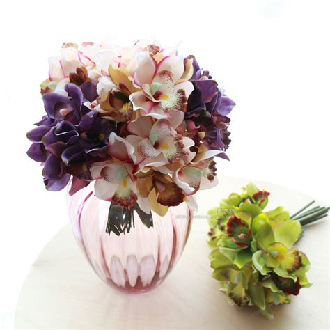 home decoration with flowers free shipping 7 flower heads artificial flowers cheap orchid decoration flower for home