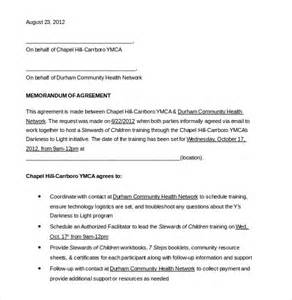 Template For Memorandum Of Agreement memorandum of agreement template 10 free word pdf