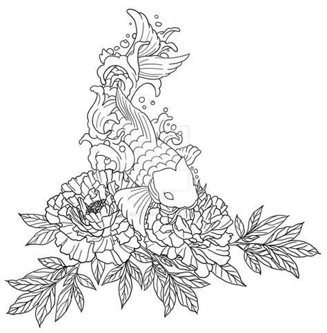 koi fish tattoo outline designs black outline peony flowers on left shoulder