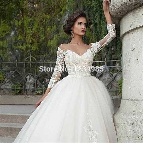 gold lace appliques long sleeves white tulle ball gowns wedding dress lace applique scoop long sleeves puffy tulle ball gown