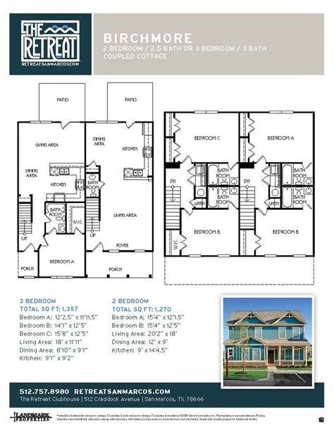 the retreat floor plans 2x2 5 birchmore retreat cottages floor plans pinterest