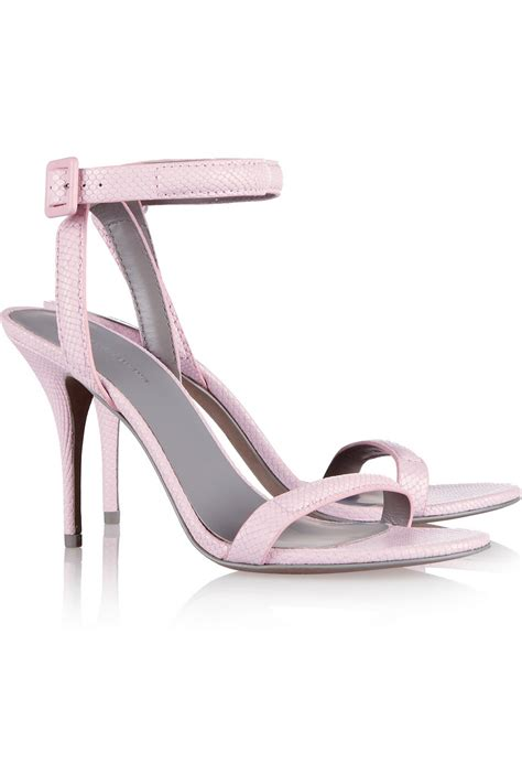 Koleksi Baby Wang Shoes Pink Wang Antonia Snakeeffect Leather Sandals In Pink