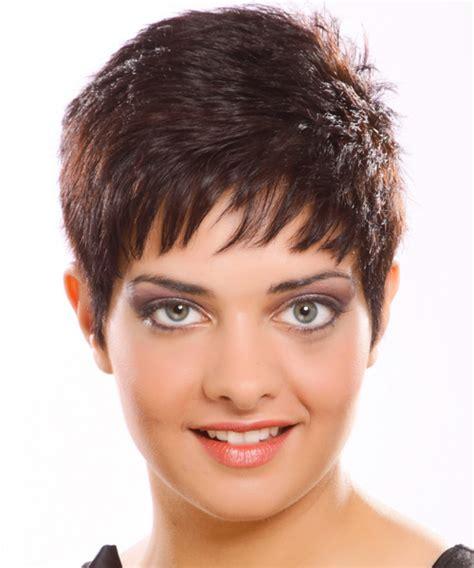 short straight casual hairstyle medium brunette plum