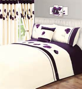 Velvet Duvet Cover King Purple Amp Cream Colour Modern Stylish Flower Pattern