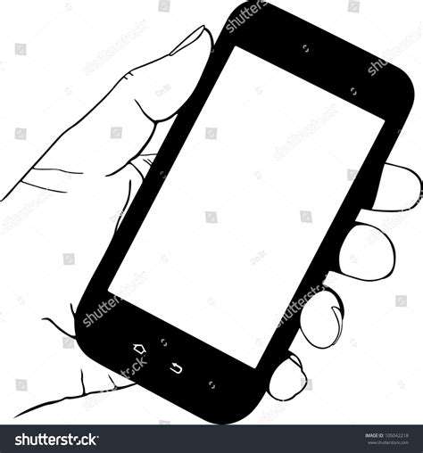 clipart cellulare holding mobile phone stock vector illustration