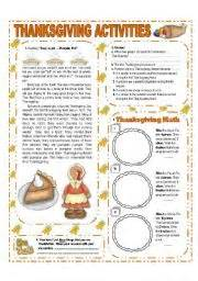 esl thanksgiving worksheets november theme thanksgiving activities with key 1 3