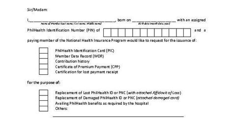 memeber id card letter template philhealth 101 sle philhealth request letter