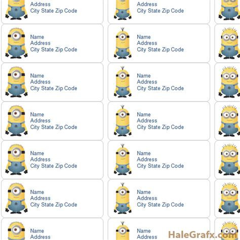 Birthday Lookup By Address Free Printable Despicable Me Minions Address Labels
