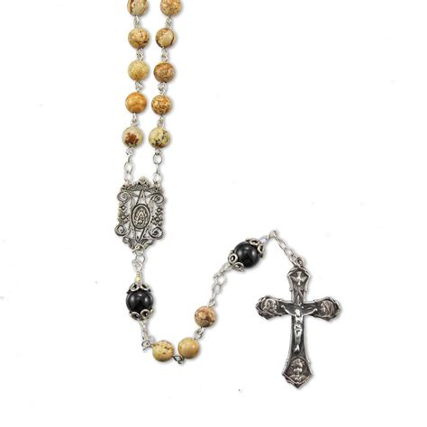 silver rosary sterling silver picture jasper and black onyx bead rosary