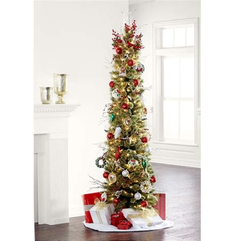meijer pencil christmas trees 7 ft pre lit green pencil artificial tree clear lights by ashland