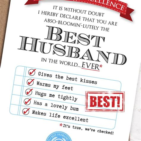 Template For Birthday Cards To From Husband by Best Husband Card By Eskimo Designs