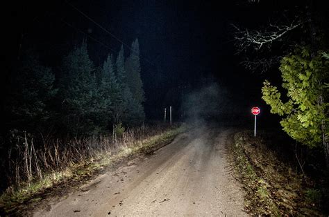 Creepy Shower Curtain Old Road Night Fog Photograph By Steven Dunn