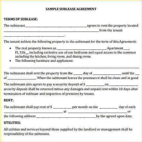 Commercial Sublease Agreement Template Sublet Contract Template Sublease Agreement Form Sublet Commercial Sublease Agreement Template Free