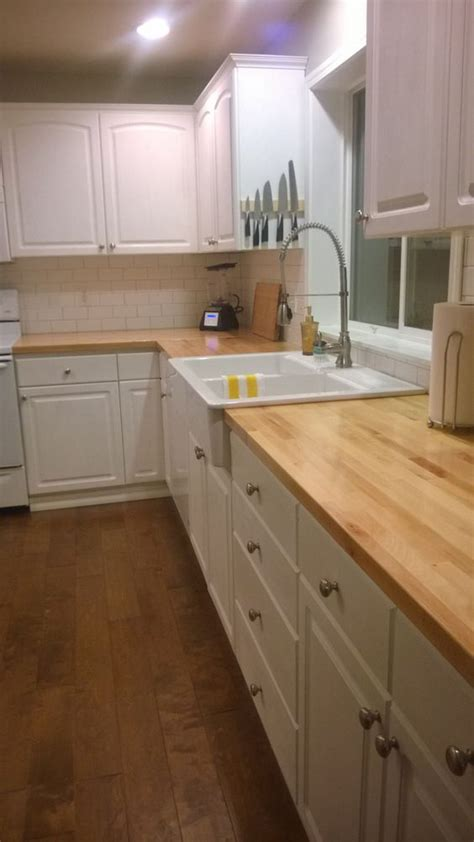 Painting Butcher Block Countertops by Sloan White Chalk Paint Ikea Domsjo Farm Sink