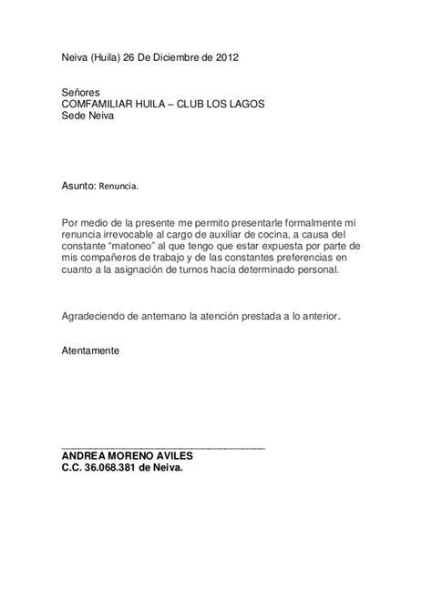 carta de renuncia trabajo ingles carta de renuncia