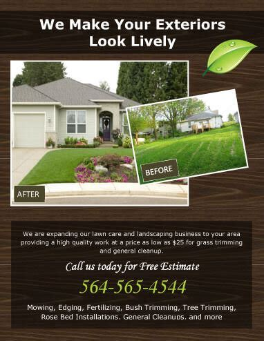 attractive landscaping advertising ideas lawn care flyers my first